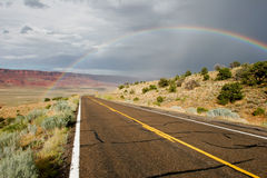 Rainbow. Rainbow over remote road in Arizona, USA Royalty Free Stock Images