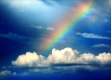 Rainbow. With dark blue sky Stock Image