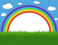 Rainbow. Frame with rainbow, sky and grass Royalty Free Stock Photo