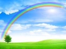 Rainbow. Abstract rainbow on solar sky under plain Stock Photos