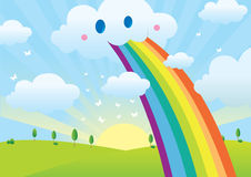 Rainbow. Vector Clouds, rainbow and tree Royalty Free Stock Images