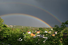 Rainbow. Two rainbows after heavy showers stock photo