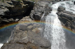 Rainbow. At the Athabasca falls in Jasper National Park (Canada Stock Images