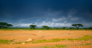 Rainbow. View. Kenya, Africa, beauty of nature royalty free stock photography
