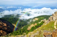 Rainbow above the Bletterbach canyon in Dolomites.Italy. Royalty Free Stock Photo