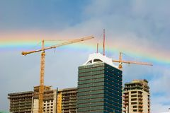 Rainbow above the buildings Stock Images