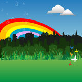 Rainbow above the city. Abstract colorful background with rainbow above the buildings of a city Royalty Free Stock Photo