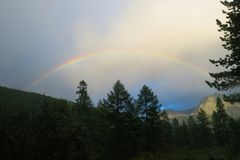 Rainbow above the forest in the mountains. Altai Mountains, Russia royalty free stock image