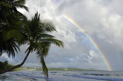 A rainbow above La Diamond beach, Martinique. Island, Lesser Antilles Royalty Free Stock Photos