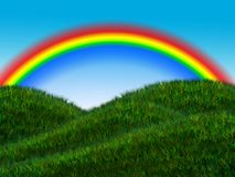 Rainbow above the meadow with sky Stock Images