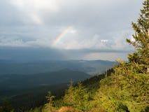 Rainbow above the mountain range. Carpathians mountains at summer, west Ukraine. Tops of firs illuminated by the sun. Wild nature background. Dense rainy royalty free stock photo