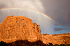 Rainbow Above Sandstone Cliff Stock Photos