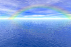 Rainbow above the sea. Rendered seascape with a rainbow vector illustration