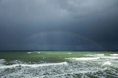 Rainbow above the sea Stock Image