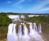 The rainbow is above the thundering water jets Royalty Free Stock Photos