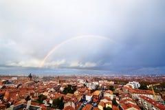 Rainbow above Toulouse Stock Photo