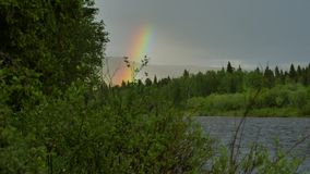 Rainbow above ural. Big rainbow above ural mountains stock video footage