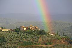 A rainbow above the Chianti hills, Tuscany, Italy royalty free stock photography