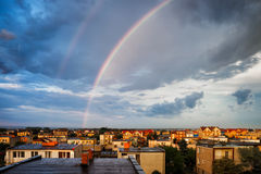 Rainbow Above Wladyslawowo Town in Poland Royalty Free Stock Images