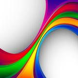 Rainbow Abstract Background. Red, green, blue, yellow curves on a gray background Stock Photography