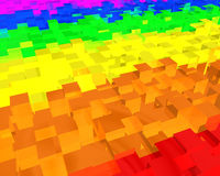 Rainbow-abstract-background. Background made of rainbow colored 3d rectangle Royalty Free Stock Photo