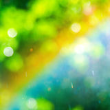 Rainbow on abstract green blurred background, closeup Royalty Free Stock Photos