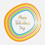 Rainbow abstract round curve frame template with text. Flat design. Happy Valentines day card Stock Photography