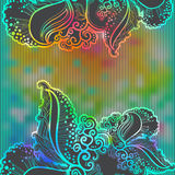 Rainbow abstract vector background with  doodle Royalty Free Stock Images