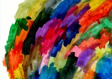 Rainbow abstract watercolor background texture. Children`s watercolor drawing. Abstraction, holiday of colors and colors, background, hand drawn texture Royalty Free Stock Images