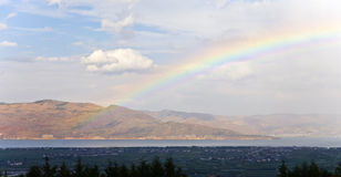 Rainbow Across the Lake Stock Photo