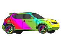 Rainbow aerography car vector drawing illustration royalty free stock image