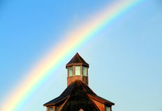 Rainbow Against Blue Sky Royalty Free Stock Photography