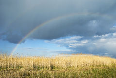 Rainbow against cloudy sky royalty free stock photos