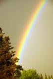 Rainbow against dark threatening sky Stock Images