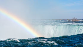 Rainbow against Rushing water royalty free stock photography
