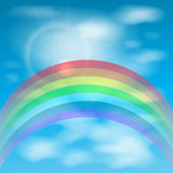 Rainbow against the sky with clouds. illustration Royalty Free Stock Photo