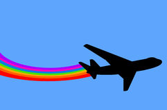 Rainbow airplane Stock Images