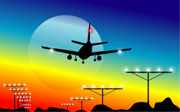 Rainbow Airplane Landing Royalty Free Stock Photography