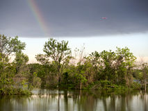 Rainbow & Airplane Stock Image