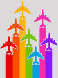 Rainbow airplanes Stock Image