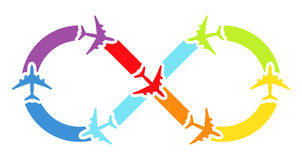 Rainbow airplanes infinity Stock Photos