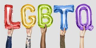 Rainbow alphabet balloons forming the word LGBTQ royalty free stock photography