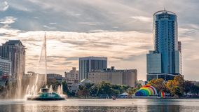 Rainbow amphitheater lake eola downtown Orlando gay pride parade stock images