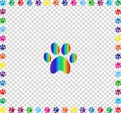 Rainbow animal paw print framed with multicolored paw prints  bo. Rainbow animal paw print sign framed with multicolored paw prints track square border isolated Royalty Free Stock Photography