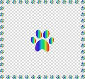Rainbow animal s pawprint bordered with multicolored frame. Rainbow animal s pawprint sign bordered with multicolored paw prints track square frame work isolated Royalty Free Stock Images