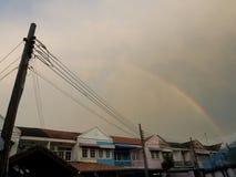 Rainbow appear on evening. Without rain. Bangkok Thailand Stock Image