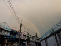 Rainbow appear on evening. Without rain. Bangkok Thailand Royalty Free Stock Photography