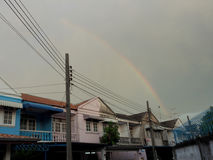 Rainbow appear on evening. Without rain. Bangkok Thailand Stock Images