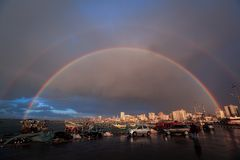 The Rainbow appears inside the Gaza port. The Rainbow appears inside Gaza seaport after a day filled with rain stock image