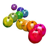 Rainbow Apples. Apples arranged according to the color spectrum Royalty Free Stock Photo